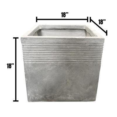 17.7 in. Light Grey Lightweight Concrete Square Stripped Large Planter