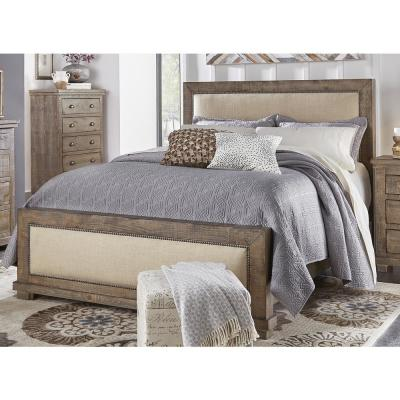 Progressive Furniture Willow Weathered Gray King Complete Upholstered Bed