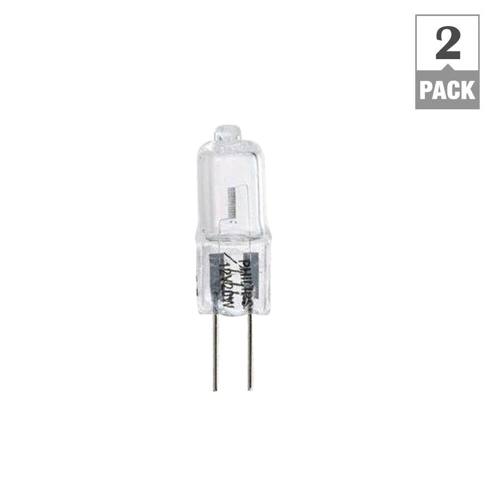 philips 20 watt halogen t3 12 volt g4 capsule dimmable light bulb 2 pack 417204 the home depot. Black Bedroom Furniture Sets. Home Design Ideas