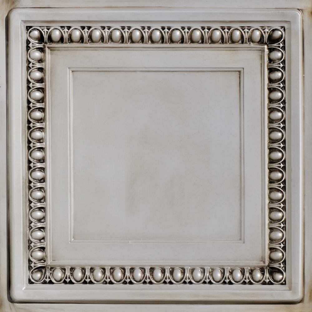 From Plain To Beautiful In Hours Cambridge 2 ft. x 2 ft. PVC Glue-up or Lay-in Ceiling Tile in Antique White