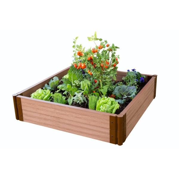 Two Inch Series 4 ft. x 4 ft. x 11 in. Classic Sienna Composite Raised Garden Bed Kit