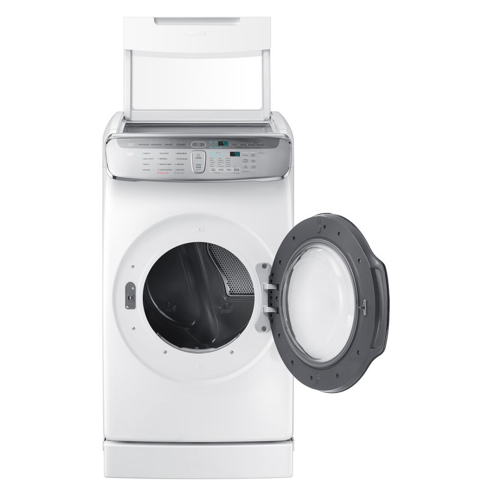 Samsung 7.5 Total cu. ft. Electric FlexDry Dryer with Steam in White Samsung's FlexDry Dryer provides the ultimate drying flexibility, by combining a conventional large capacity dryer with a delicate dryer, so you dry delicate and everyday garments at the same time. The standstill delicate dryer lets you lay flat undergarments, sweaters, and accessories to dry; to prevent items from shrinking and fabric damage. Combined with the Samsung FlexWash Washer, the Samsung FlexWash + FlexDry laundry pair provides a complete laundry solution to provide the optimal care for your clothes. Advanced features like Multi-Steam technology gives you the ability to steam away wrinkles. Color: White.