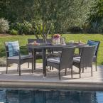 Kyle Grey 7-Piece Wicker Outdoor Dining Set with Grey Cushion