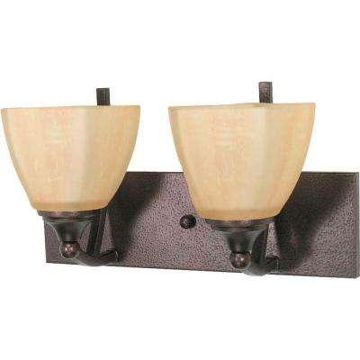 2-Light Copper Bronze Vanity Light with Champagne Linen Washed Glass