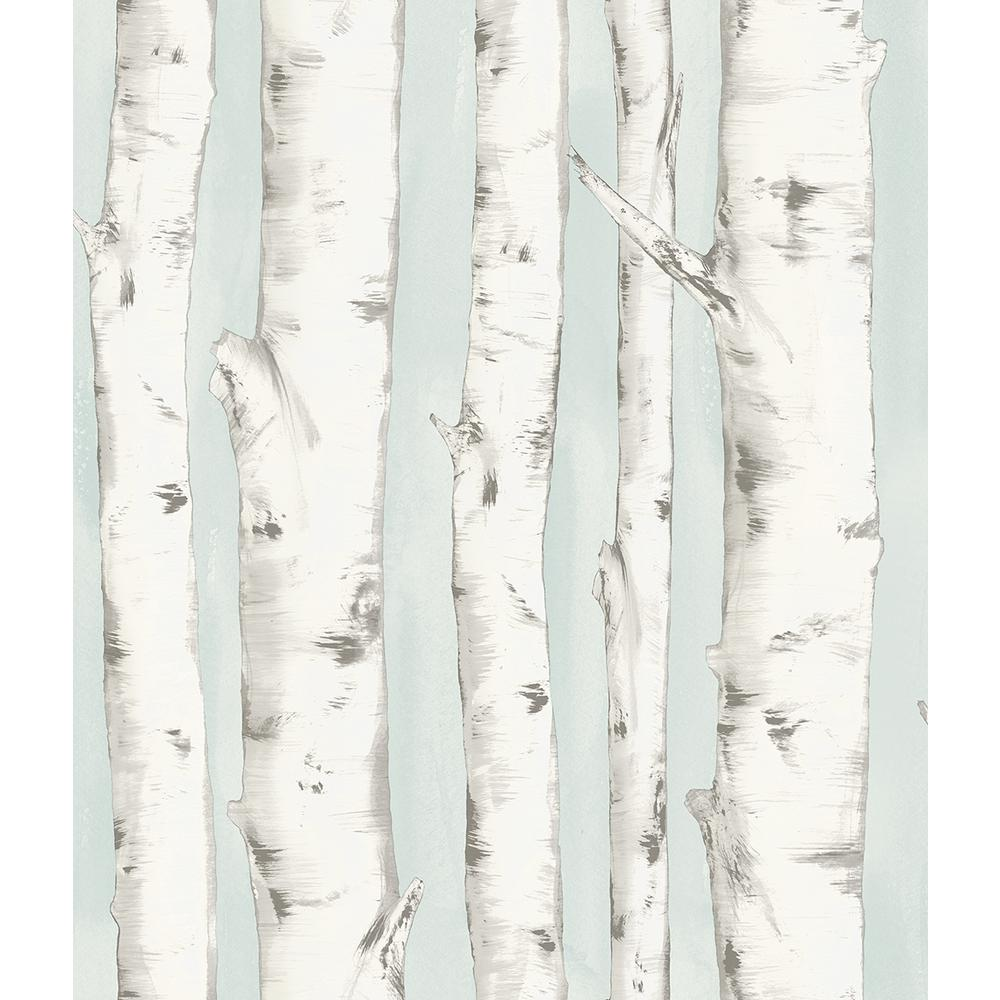 Pioneer Light Blue Birch Tree Wallpaper Sample 3118 12602sam The Home Depot