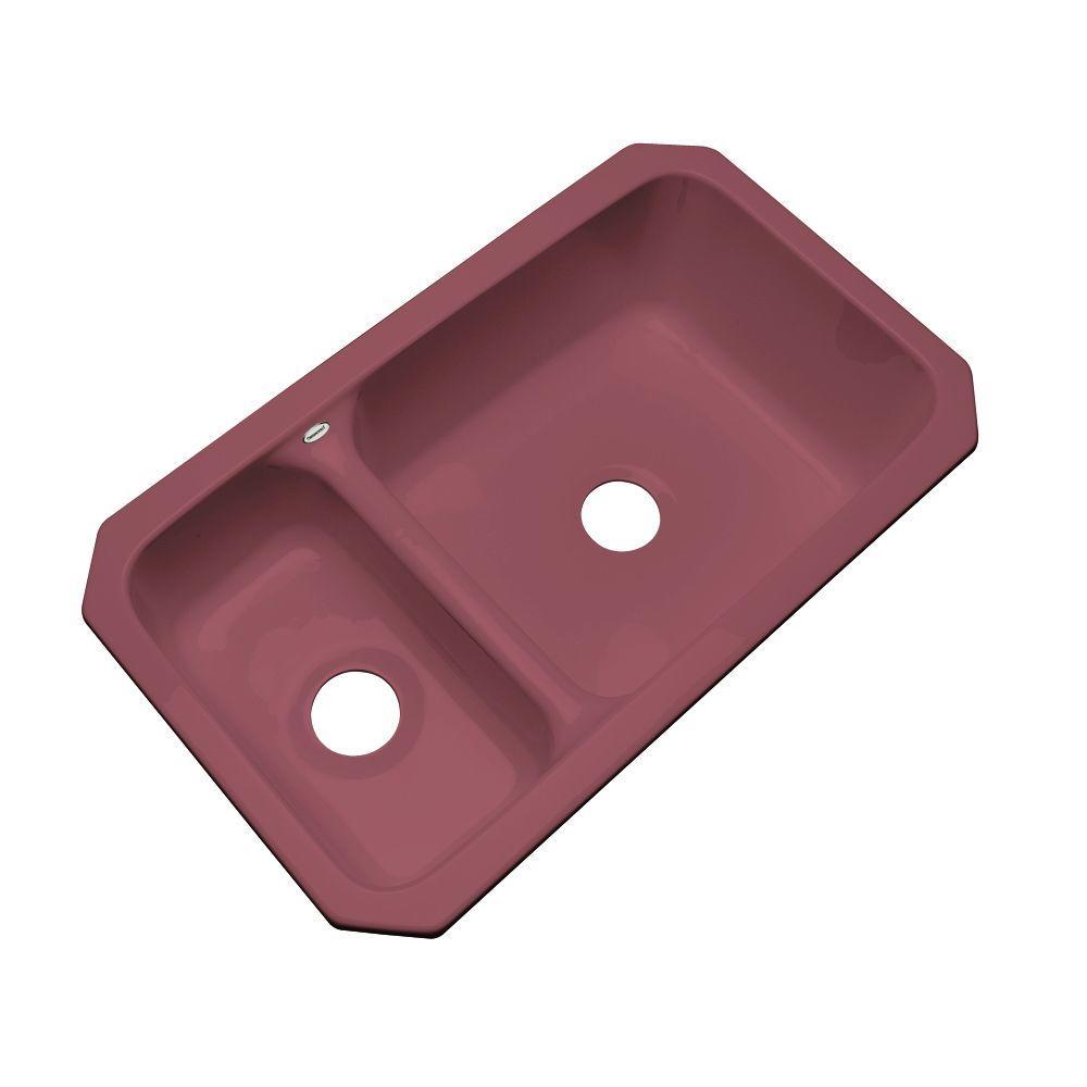 Wyndham Undermount Acrylic 33 in. Double Bowl Kitchen Sink in Raspberry Puree