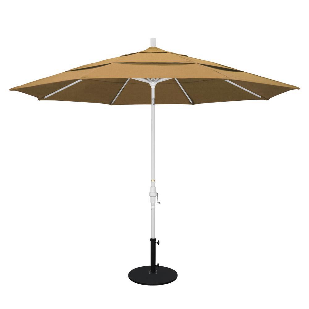 11 ft. Aluminum Collar Tilt Double Vented Patio Umbrella in Straw Olefin