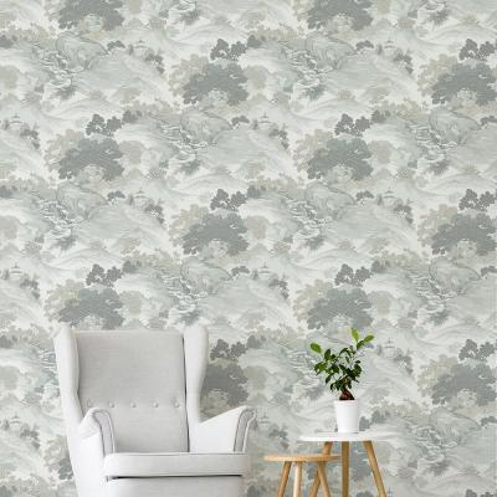 56.4 sq. ft. Ordos Light Green Eastern Toile Wallpaper
