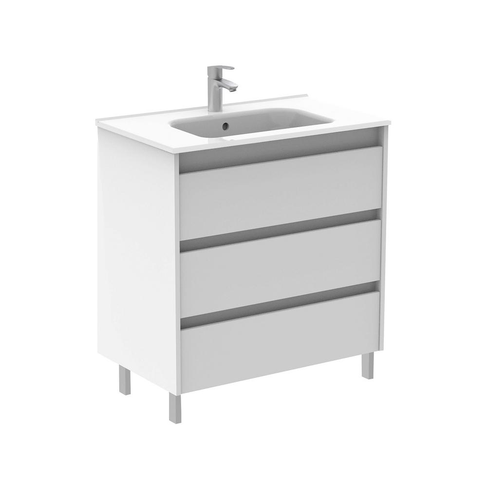 ROYO Sansa 32 in. W x 18 in. D Bath Vanity in White with Ceramic Vanity Top in White