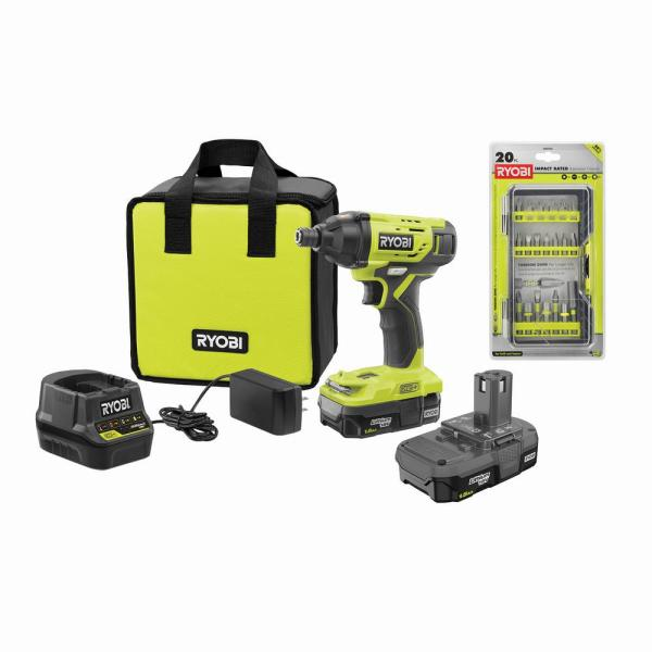 ONE+ 18V Cordless 1/4 in. Impact Driver Kit with (2) Batteries, Charger, & Bag, with Impact Rated Driving Kit (20Piece)