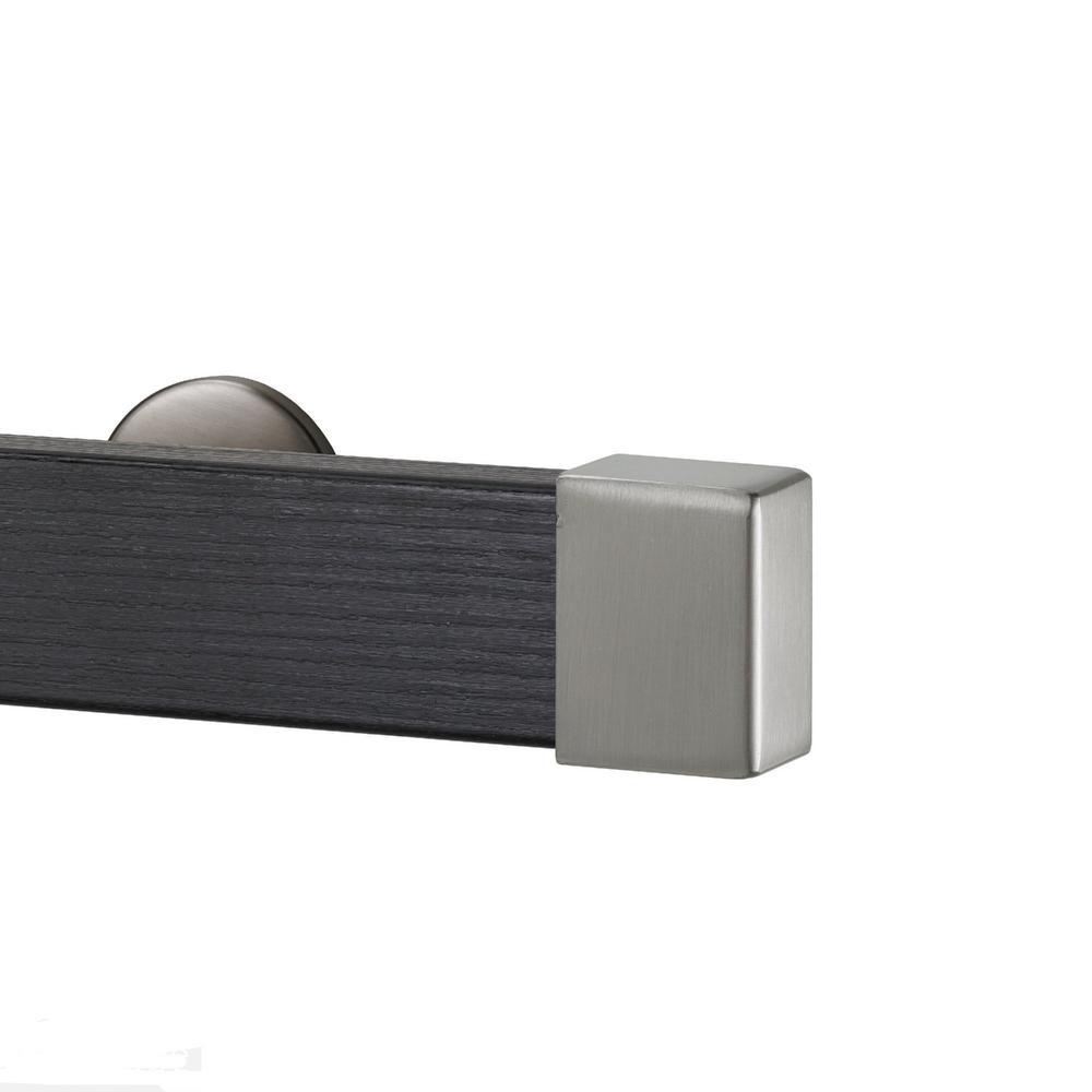 Kontur Wood 96 in. Single Traverse Rod Set in Ebony with Endcap in Stainless
