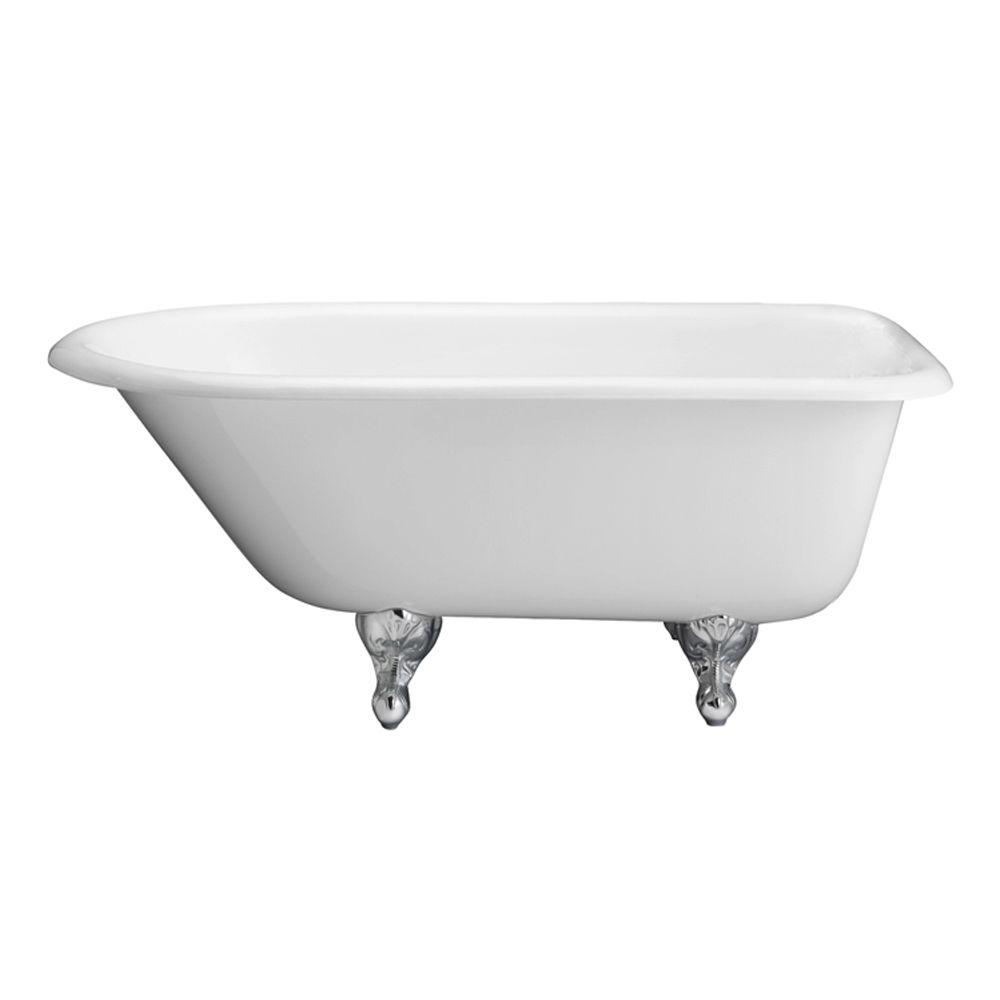 Pegasus 5 ft. Cast Iron Ball and Claw Feet Roll Top Tub in White