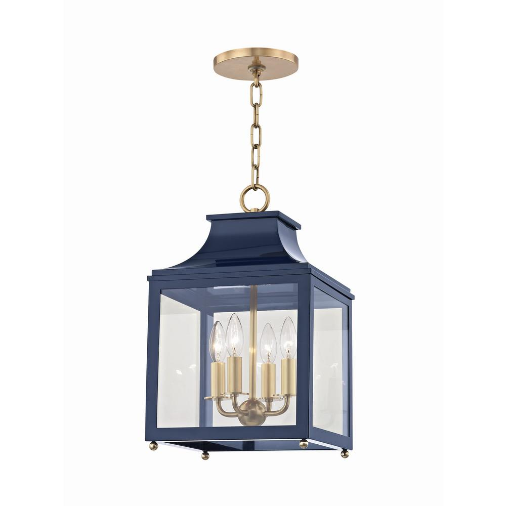 the latest dd3cc 383fd Mitzi by Hudson Valley Lighting Leigh 4-Light 11.5 in. W Aged Brass/Navy  Pendant with Clear Glass Panel