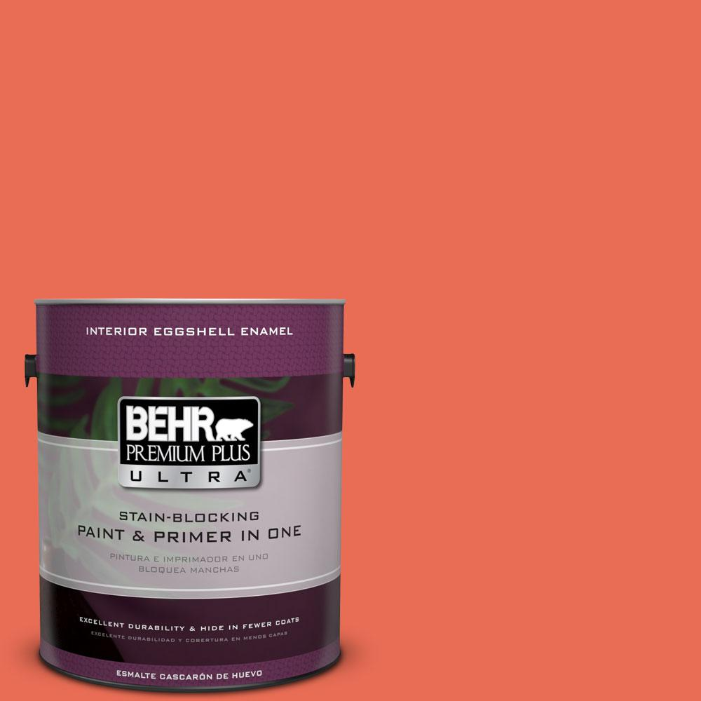 BEHR Premium Plus Ultra 1 gal. #190B-6 Wet Coral Eggshell Enamel Interior Paint and Primer in One