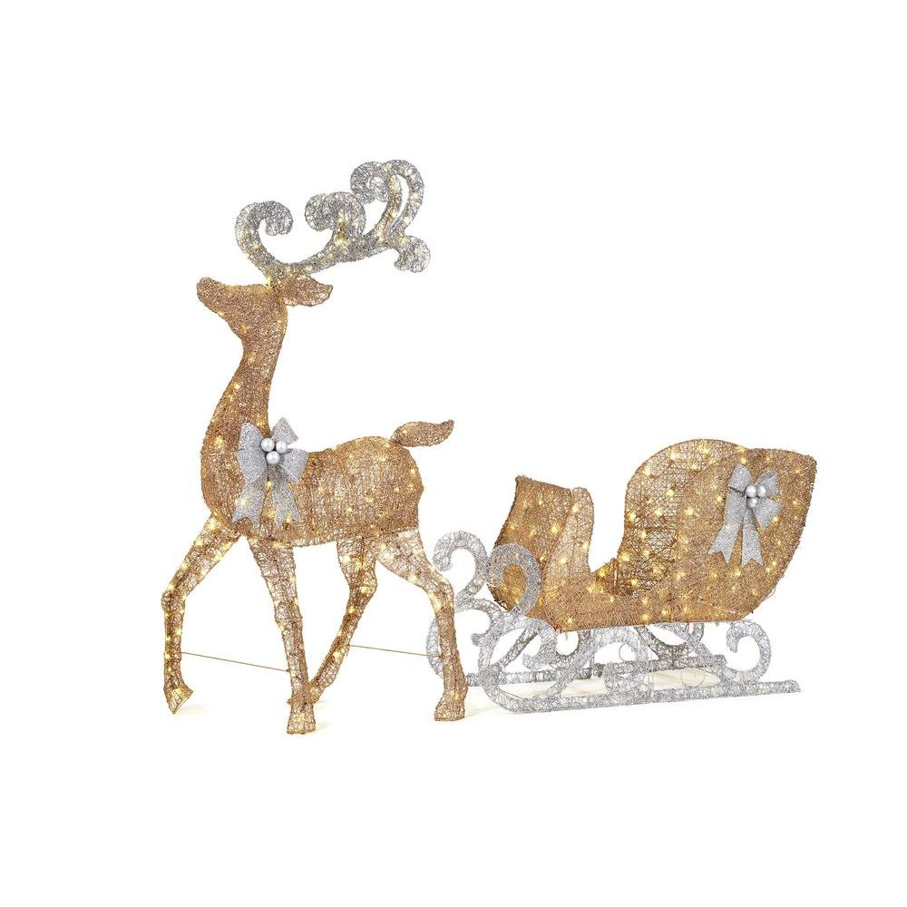 home accents holiday 65 in led lighted gold reindeer and 46 in led lighted