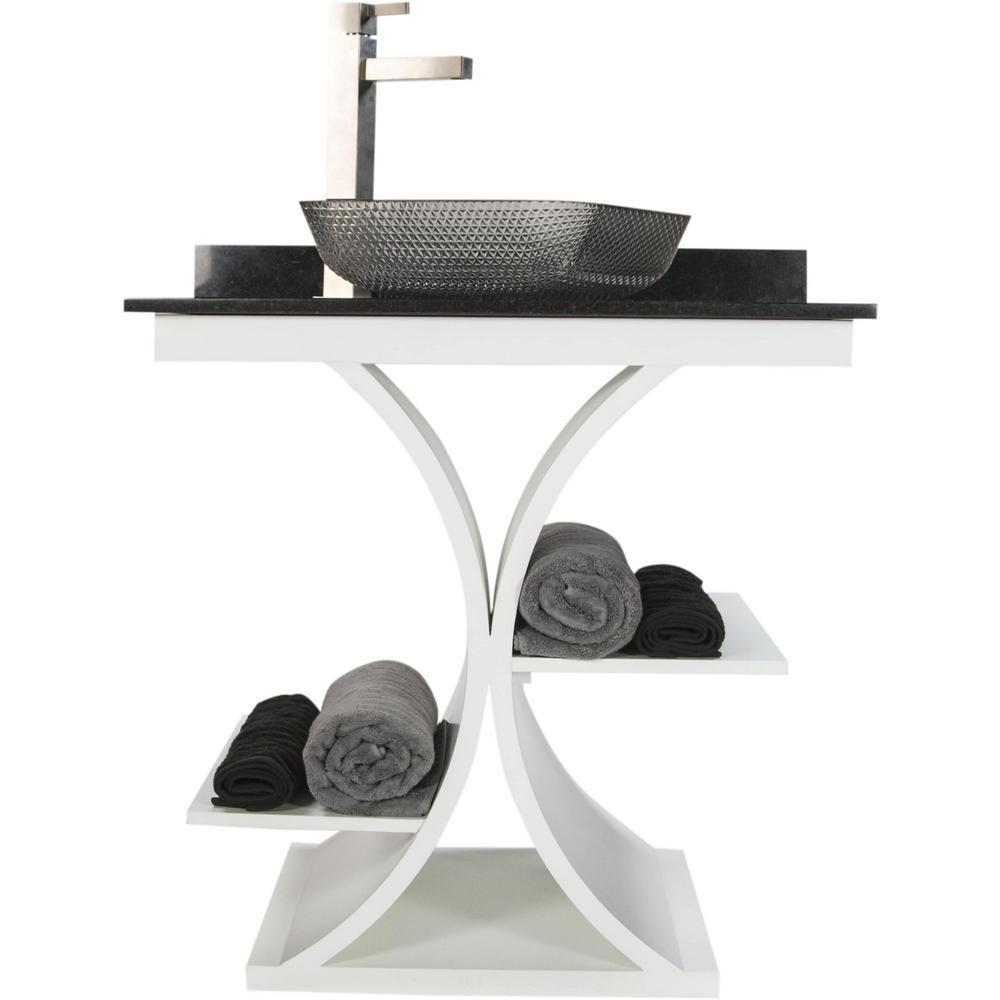 JSG Oceana Cruz 31 in. W x 21.65 in. D Bath Vanity in White with Granite Vanity Top in Black with Black Nickel Basin