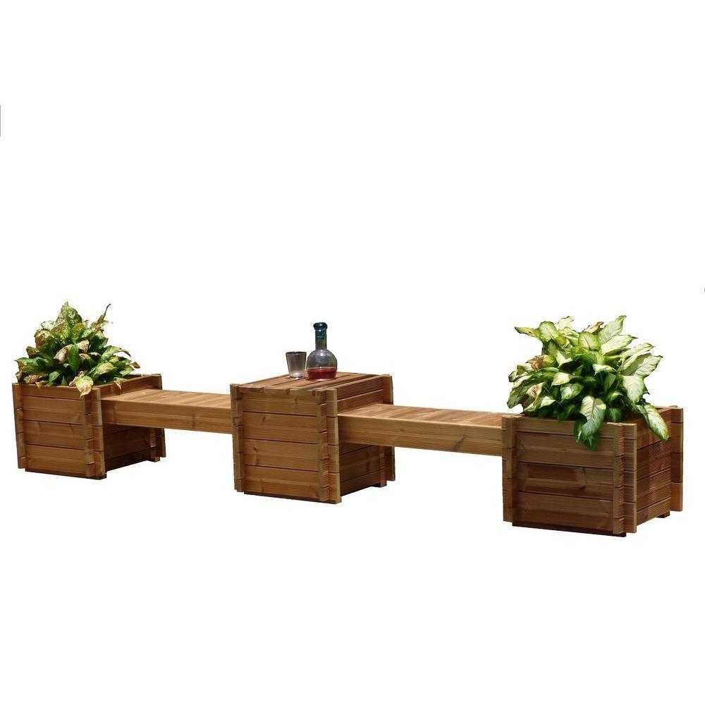 TherMod Contessa 138 in. x 20 in. Wood Bench Planter-TH-CONT - The ...