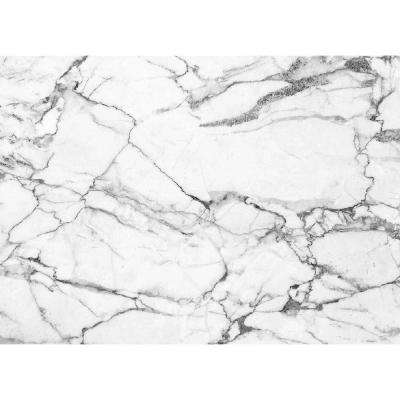MHF Home White and Grey Marble 18 in. W x 13 in. L Polypropylene Placemat Set (4-Pack)