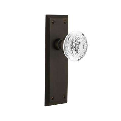 New York Plate 2-3/4 in. Backset Oil-Rubbed Bronze Privacy Bed/Bath Crystal Egg and Dart Door Knob