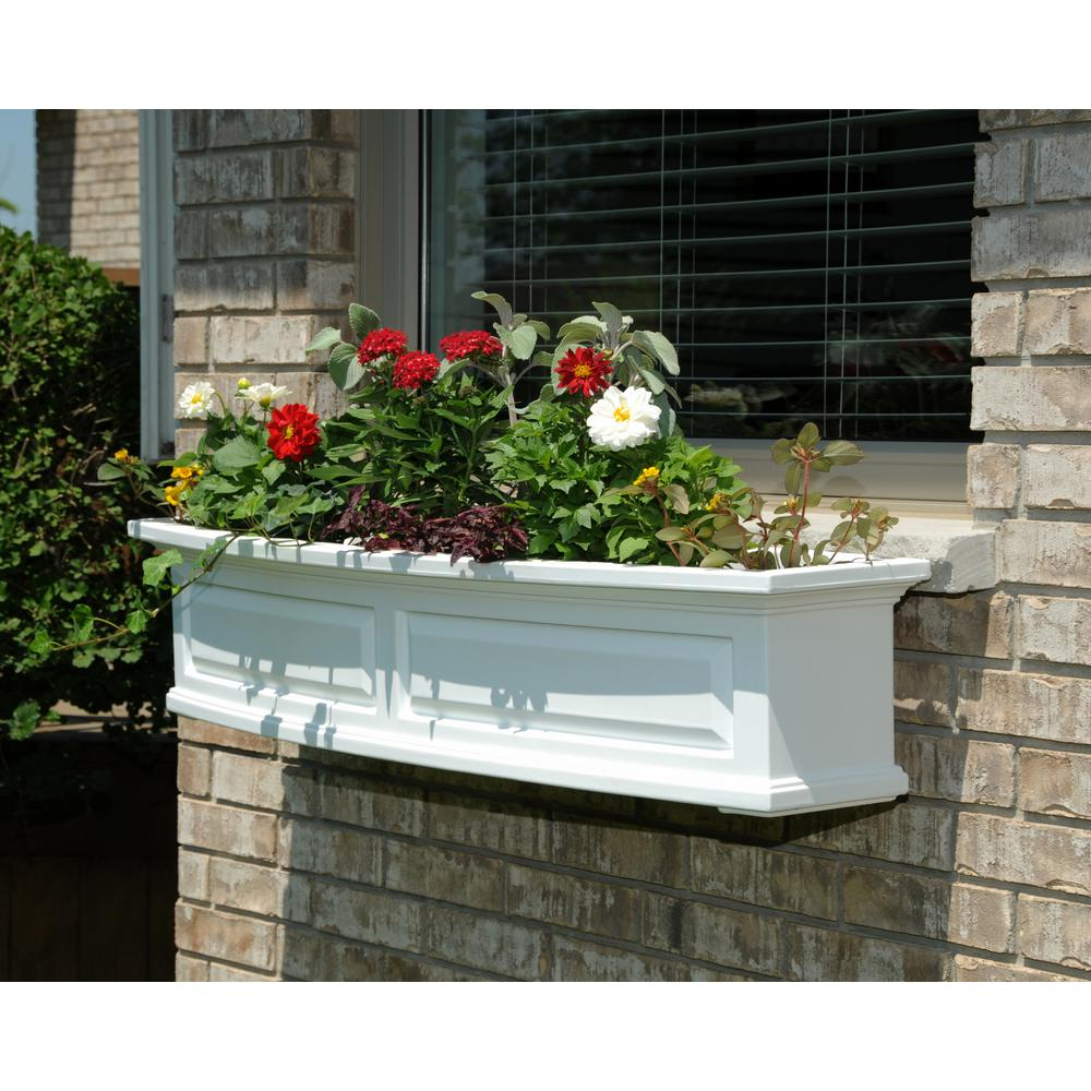 4 ft. Nantucket White Plastic Window Box