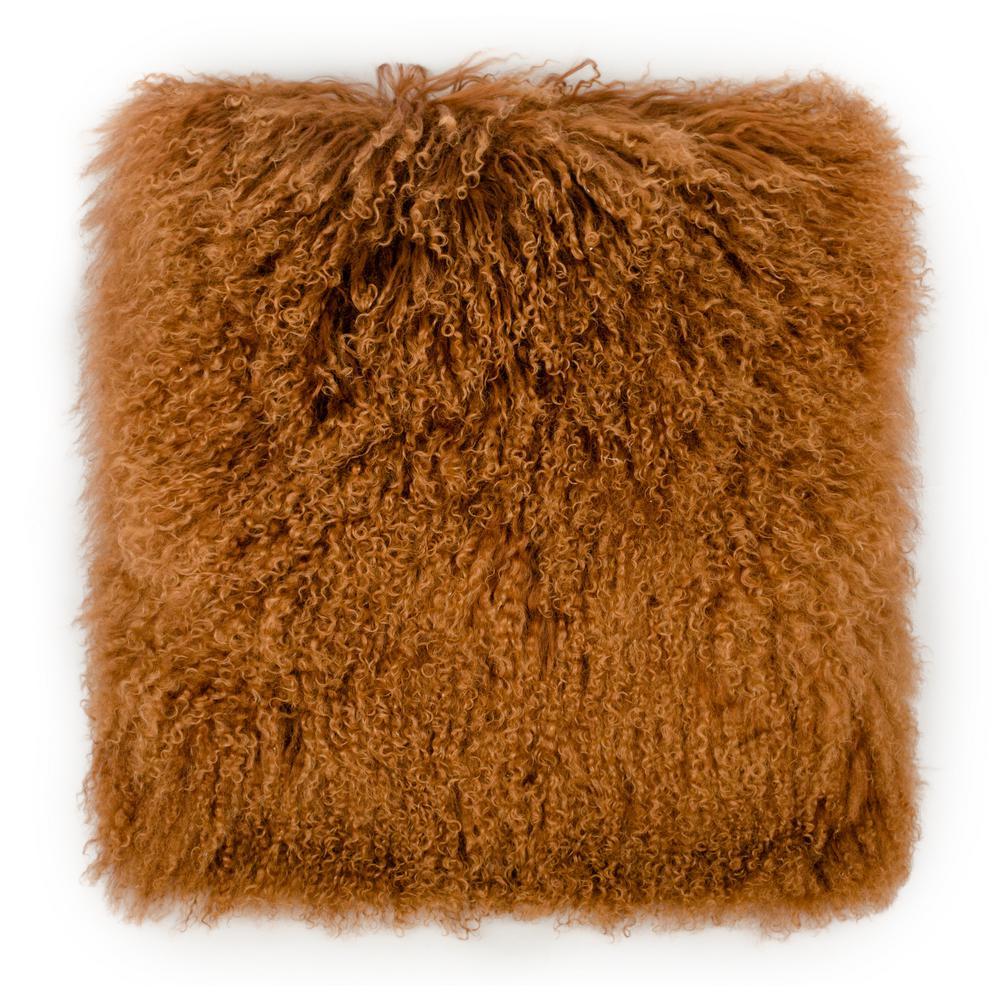 Tibetan Sheep Copper Large Throw Pillow