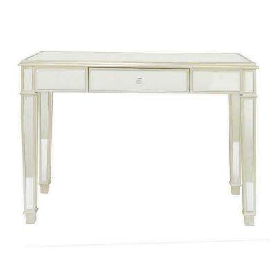 30 in. Mirrored Desk in Champagne in Silver