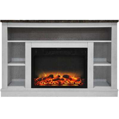 Charming Electric Fireplace With Enhanced Log Insert And White Mantel
