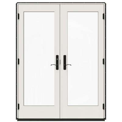60 in. x 80 in. W-4500 Chestnut Bronze Prehung Right-Hand Inswing French Patio Door with Contemporary Frame