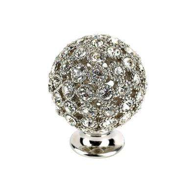 Crystal Collection 1 in. Chrome and Crystal Round Knob