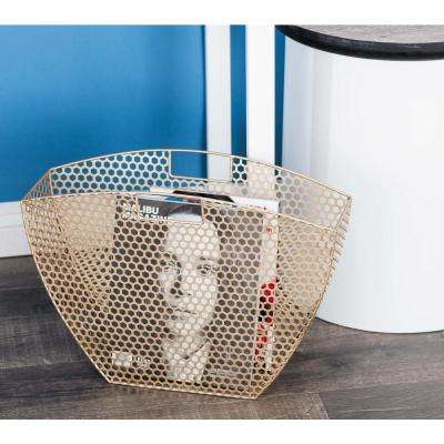 Modern Metal Honeycomb Mesh Magazine Holders in Gold (Set of 2)