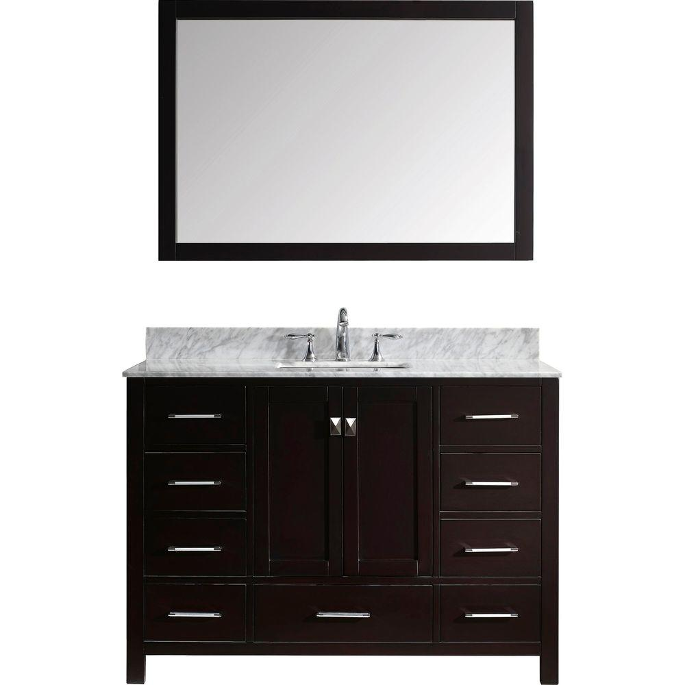 Virtu USA Caroline Avenue 49 in. W Bath Vanity in Espresso with Marble Vanity Top in White with Square Basin and Mirror