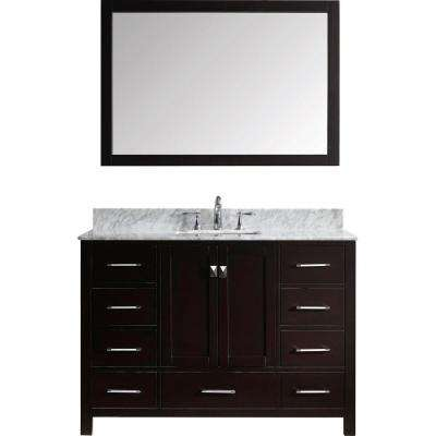 Caroline Avenue 49 in. W Bath Vanity in Espresso with Marble Vanity Top in White with Square Basin and Mirror