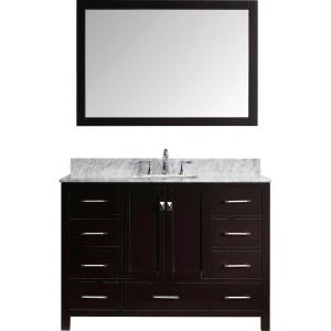 Virtu USA Caroline Avenue 48 inch W x 36 inch H Vanity with Marble Vanity Top in Carrara White with White Basin and... by Virtu USA