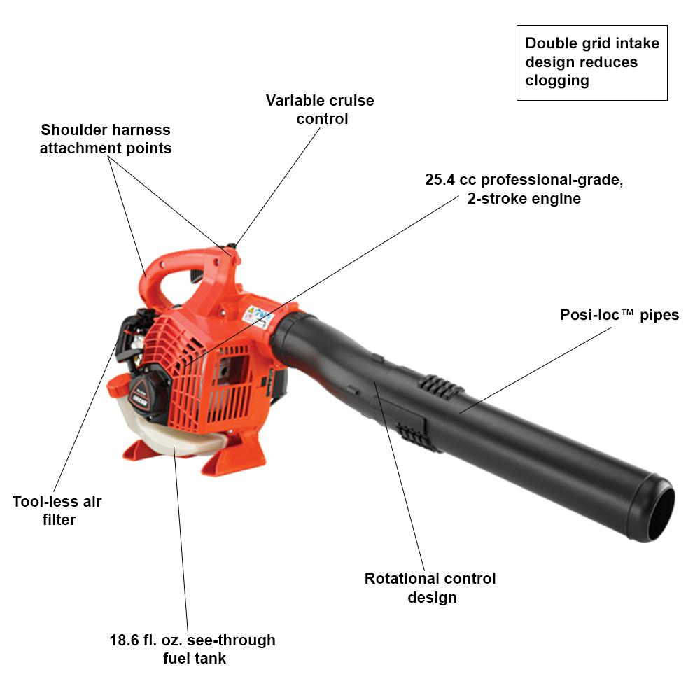 Echo 170 Mph 453 Cfm 25 4 Cc Gas 2 Stroke Cycle Handheld Leaf Blower Pb 2520 The Home Depot