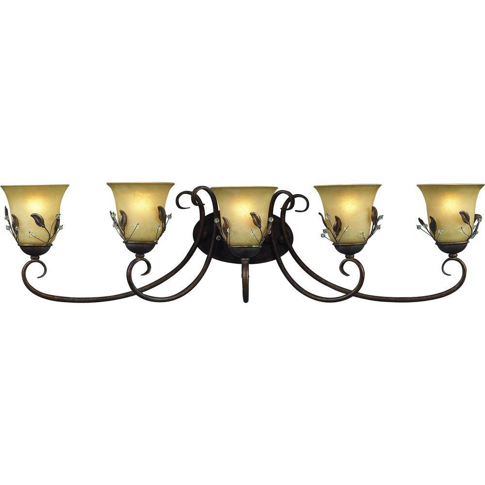 Tulen Lawrence 5-Light Antique Gold Incandescent Bath Vanity