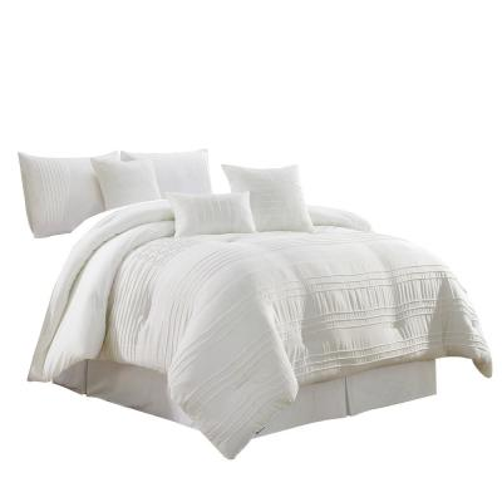 Mhf 7-Piece White Queen Comforter Set