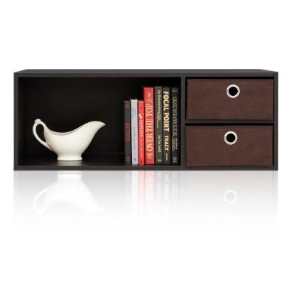 EX Home Espresso Wall Mounted Hutch with Bin Drawers