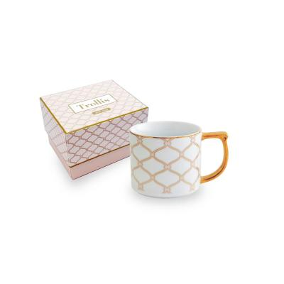 Trellis 12 oz in. Mug Pink and Gold