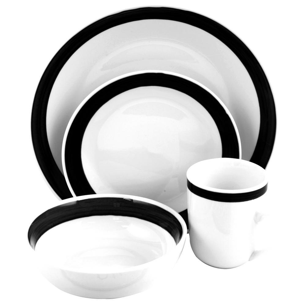 Basic Liiving III 16-Piece Black Dinnerware Set