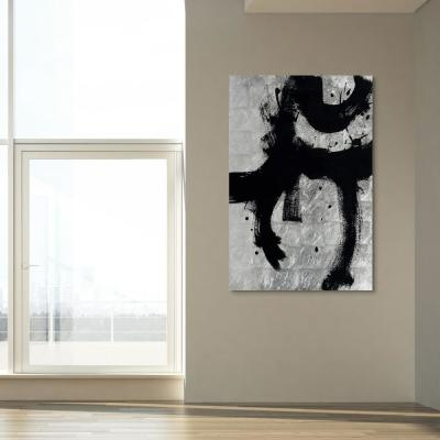 Onyx Gesture I Abstract Unframed Reverse Printed on Tempered Glass with Silver Leaf Wall Art 32 in. x 48 in.