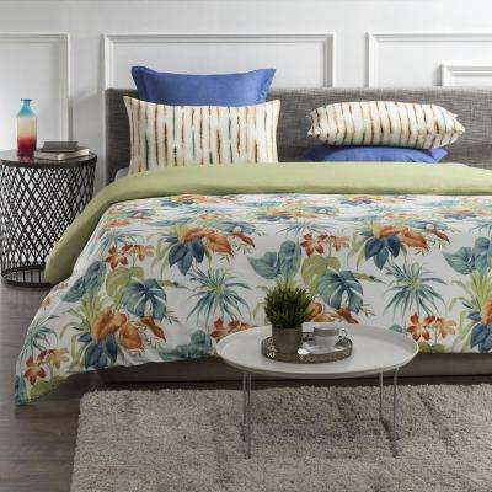 Palm Oasis Wrinkle Resistant Reversible Print 100% Organic Cotton Multi-Color King Duvet Cover Set