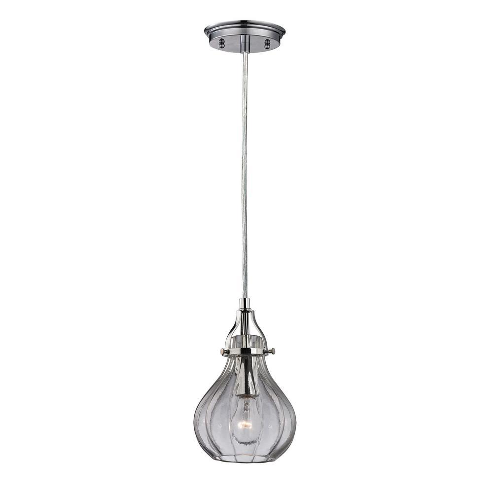 Titan Lighting Danica 1-Light Polished Chrome and Clear Glass Pendant