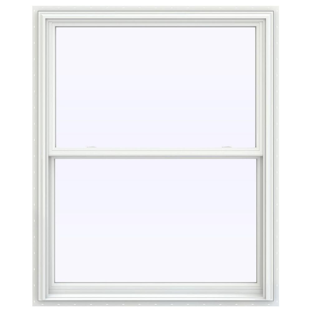 Jeld wen 43 5 in x 59 5 in v 2500 series white painted for Double hung window reviews