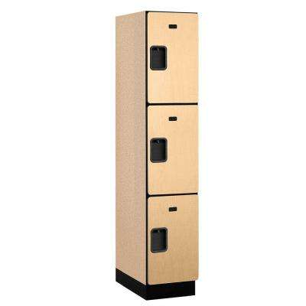 23000 Series 3-Tier Wood Extra Wide Designer Locker in Maple - 15 in. W x 76 in. H x 21 in. D