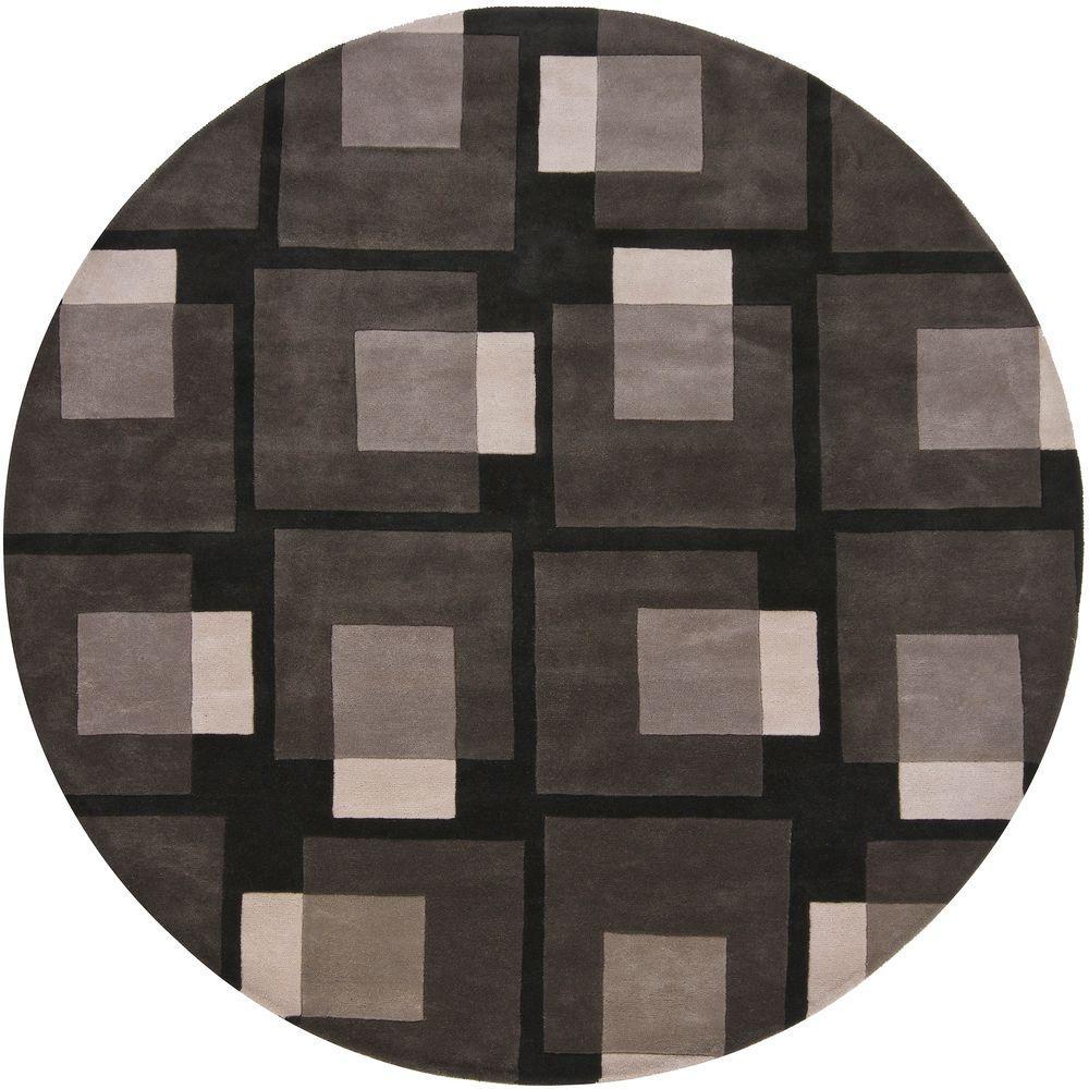 Bense Black/Grey/Ivory 7 ft. 9 in. Indoor Round Area Rug