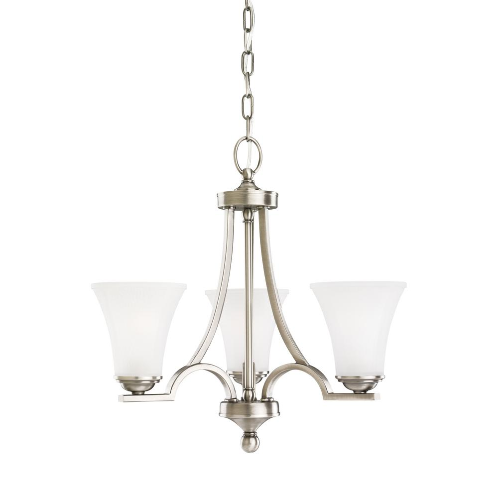 Sea Gull Lighting Somerton 3-Light Antique Brushed Nickel Chandelier with LED Bulbs