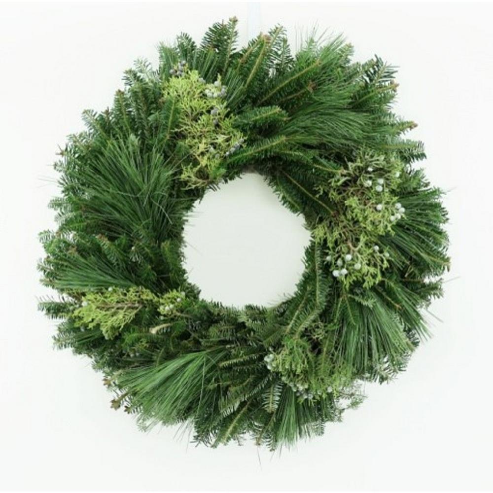 24 in. Fresh Mixed Evergreen Christmas Jubilation Wreath (Live)