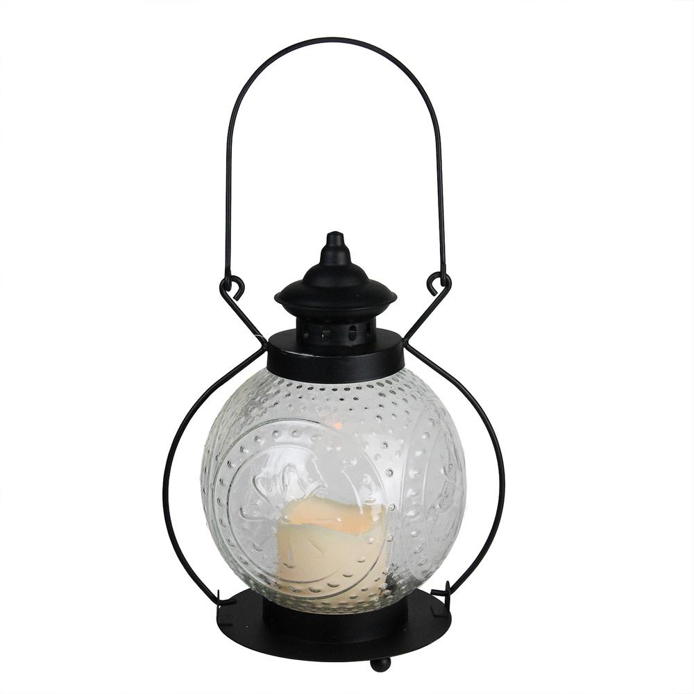 11 in. Clear Molded Glass Lantern with Flameless LED Pillar Timer Candle