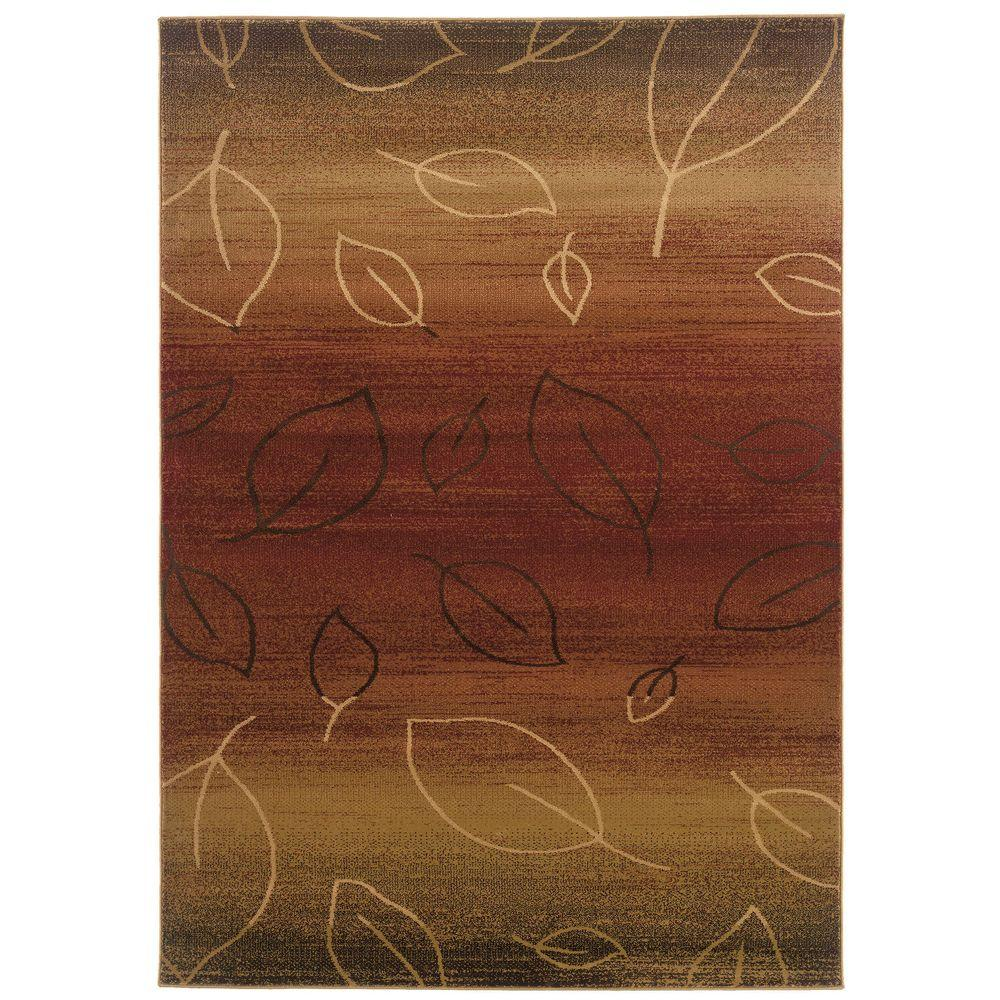 LR Resources Contemporary Cherry and Light Brown 5 ft. 3 in. x 7 ft. 5 in. Plush Indoor Area Rug