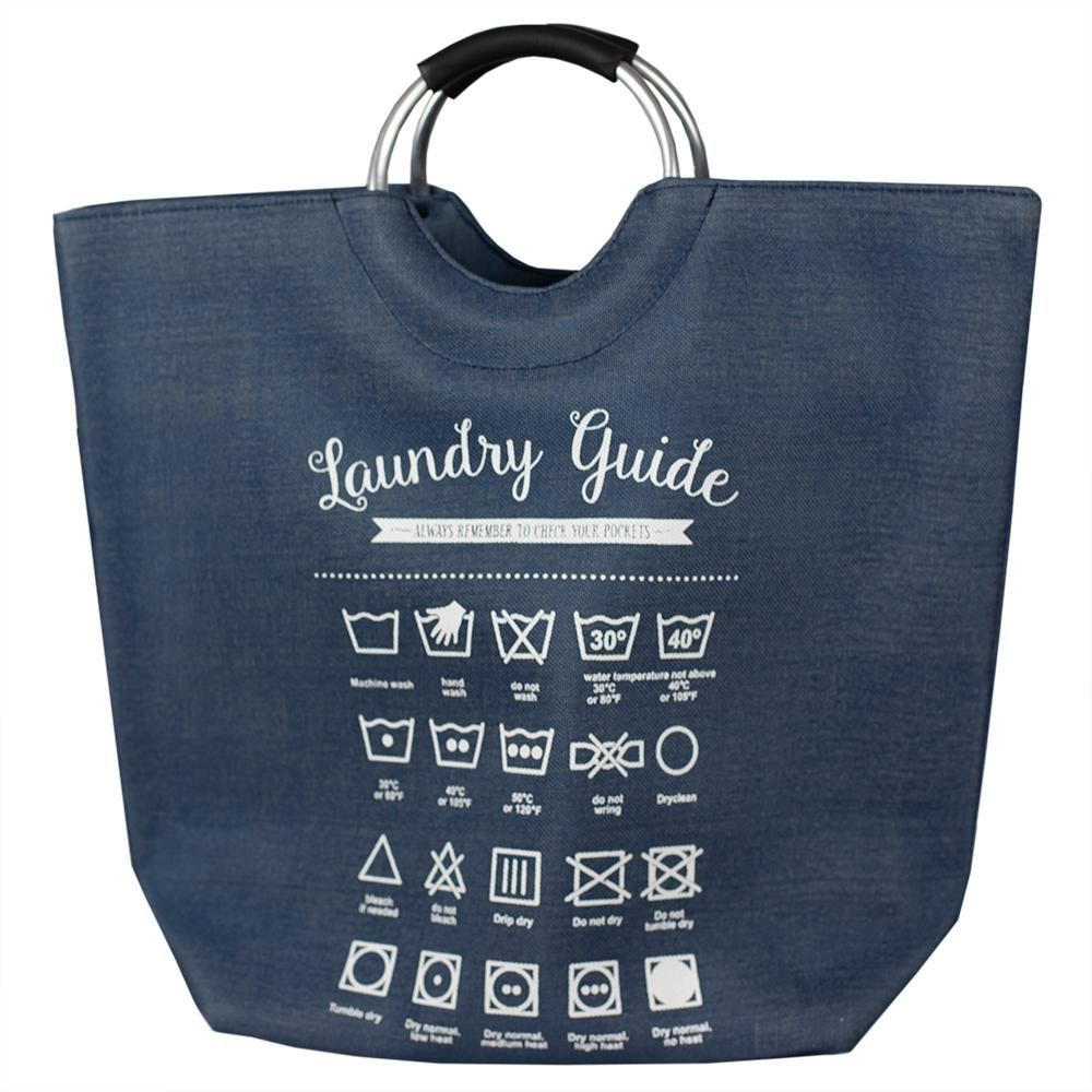 Navy Canvas Laundry Guide Hamper Tote With Soft Grip